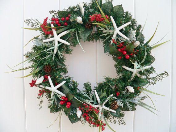 Beachy christmas starfish wreath or centerpiece