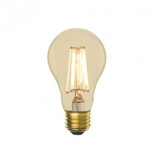 LED that looks like an Edison bulb. Dimmable too! Different shapes available.