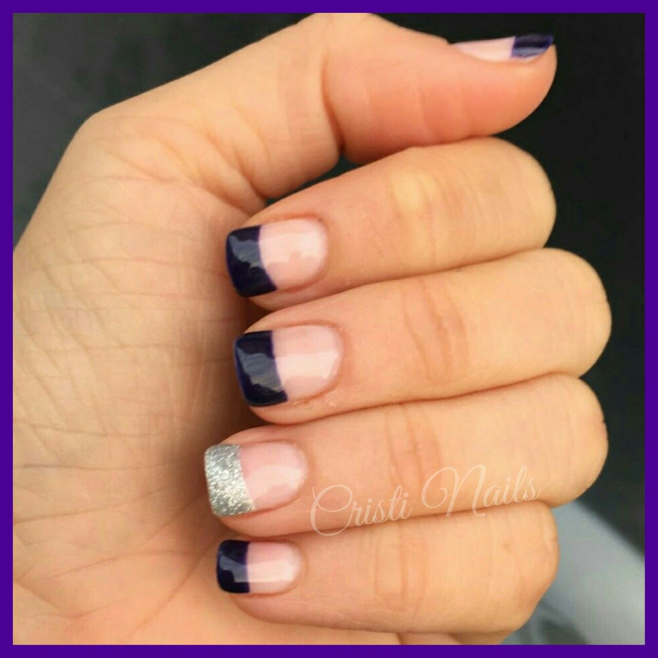 Nails Francesa morada y brillante