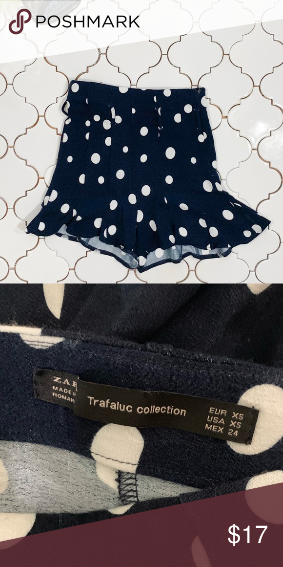 12767a36 Zara high waisted shorts High waisted navy polka dot shorts from Zara.  Slight ruffled hem at bottom of shorts. Tie waist with belt loops.