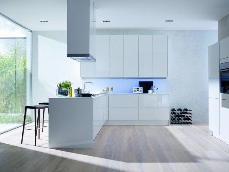 Cocinas blancas de diseño moderno - 50 ejemplos | Cocina blanca ...