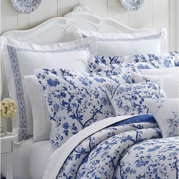 Fl Cotton European Sham 211385, Laura Ashley Charlotte Blue Bedding