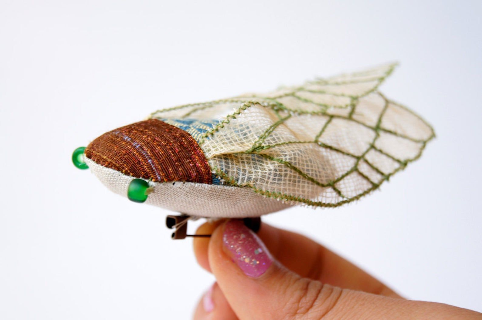 Cicada Statement Brooch Fiber Art Insect Natural History  Nature Lover  Woodland Fashion Accessory Gift for Women#accessory #art #brooch #cicada #fashion #fiber #gift #history #insect #lover #natural #nature #statement #women #woodland