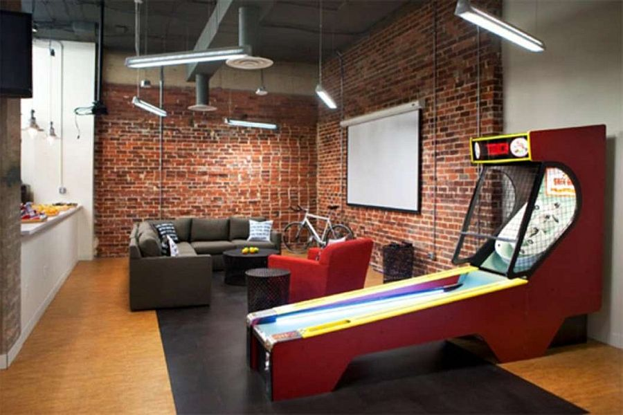 Home design living social game room with wall brick design for Fun office decorating ideas