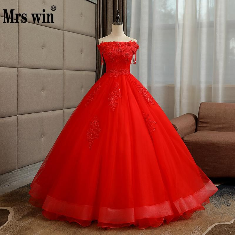 c64979bf6 Vestidos De 15 Anos 2018 New Mrs Win Luxury Quinceanera Dresses Elegant  Boat Neck Lace Embroidery Party Prom Quinceanera Dress F
