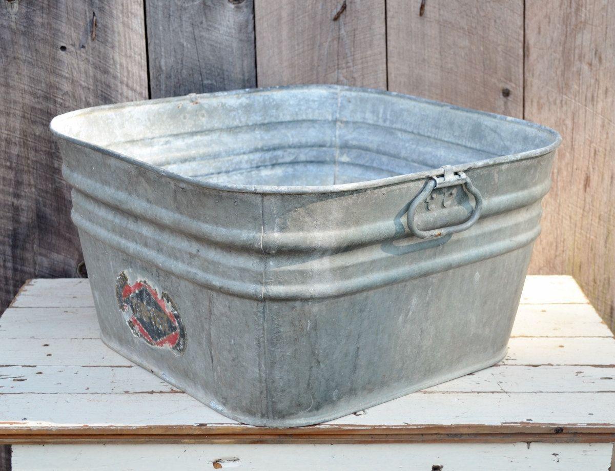 Vintage Square Galvanized Metal Wash Tub 42 Tru Test Label Rustic Primitive Farm Ranch Garden Planter Repurpose Upcy Metal Wash Tub Wash Tubs Galvanized Metal