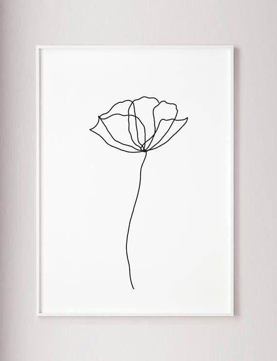 Mohnblüte Wand Linie Kunstdruck, minimalistische moderne Kunst Dekor, eine Linie Kunst, Kontur Zeichnung, Wabi-Sabi-Kunst, schwarzen und weißen Botanischer Plakat #artanddrawing