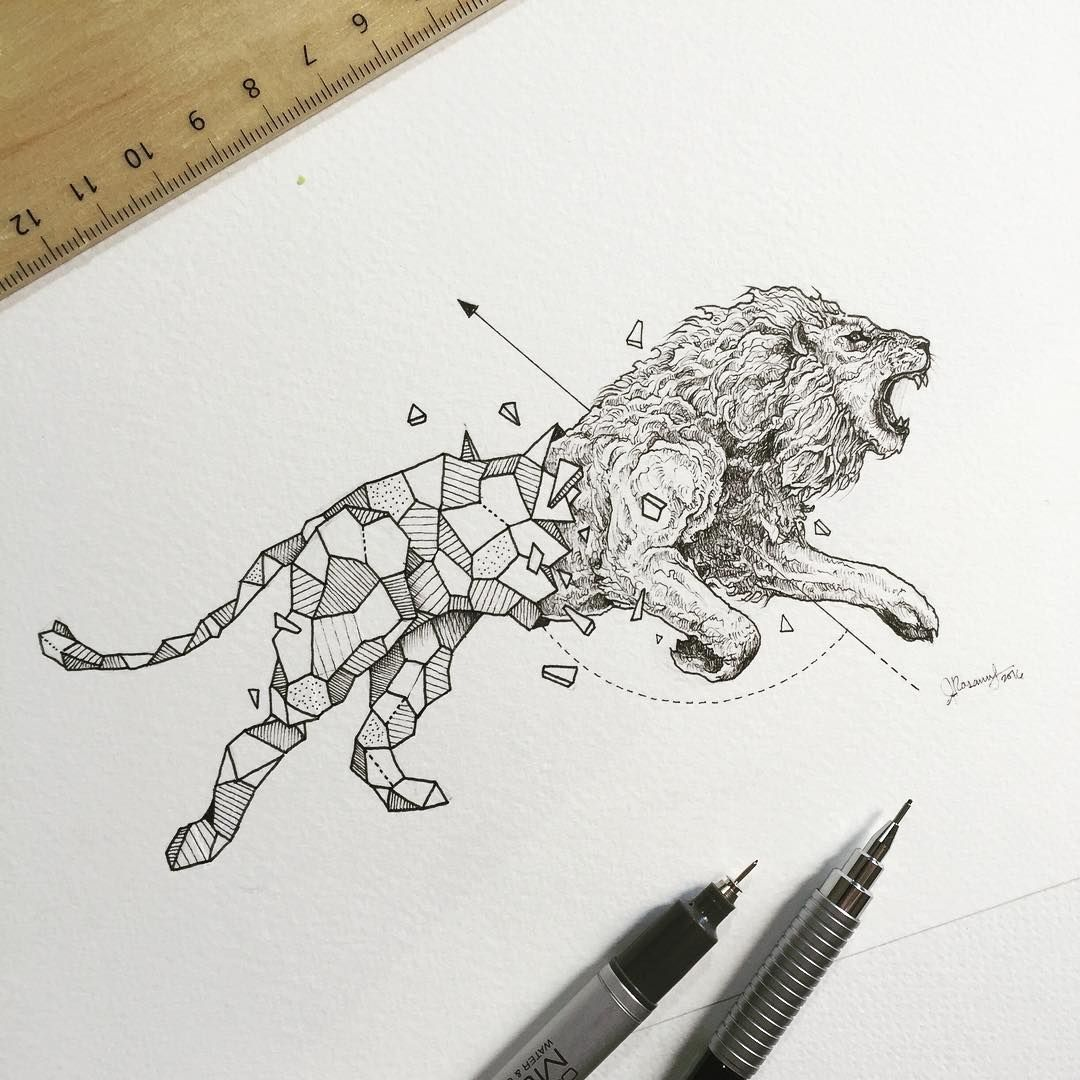 Geometric Beasts Drawing