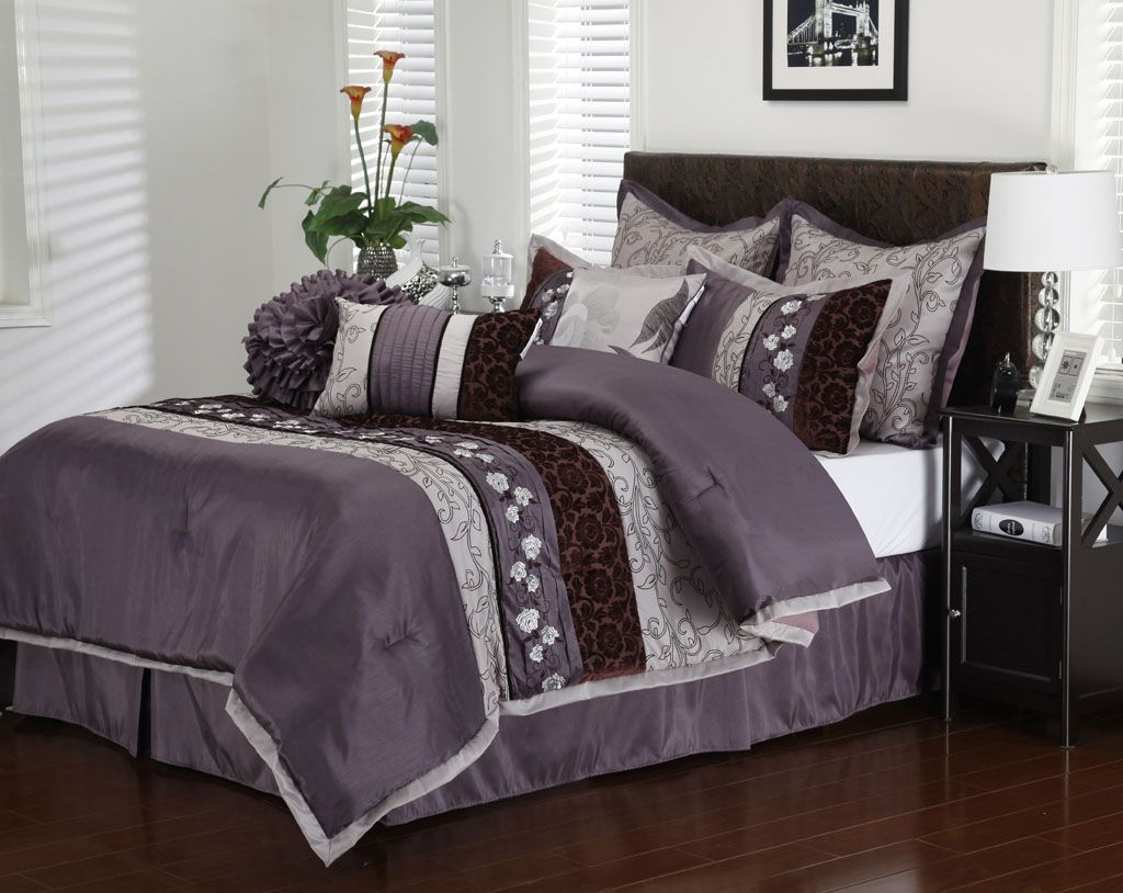 Purple Comforter Sets Queen Piece Queen Riley Purple