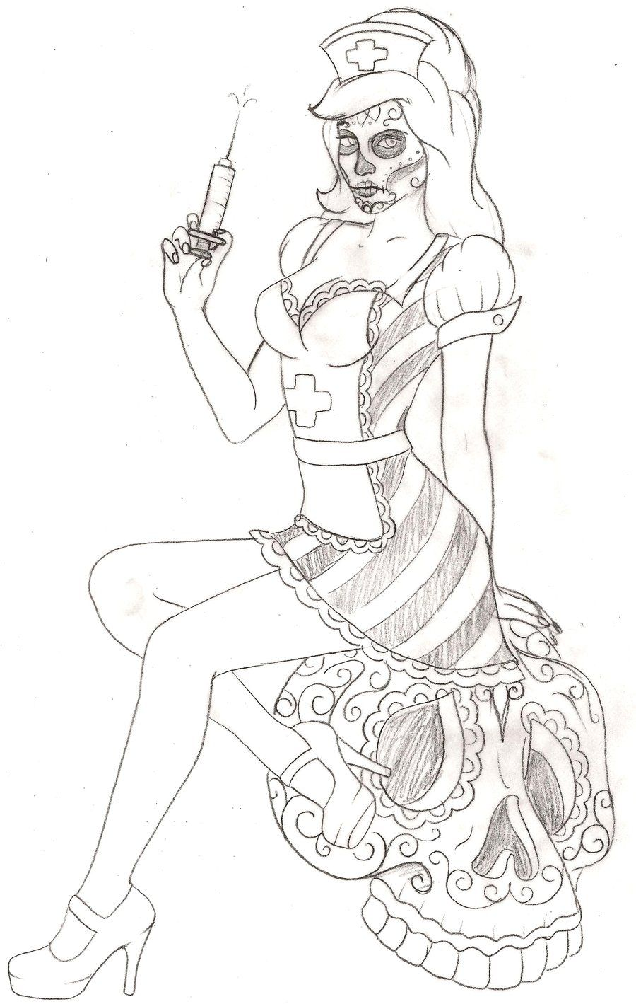 Day of the Dead Nurse and Sugar Skull Pin Up Tattoo Flash by ...