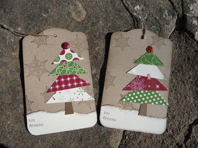 handmade christmas tags rustic look trees made up of triangles cut from patterned paper - Christmas Tags Handmade
