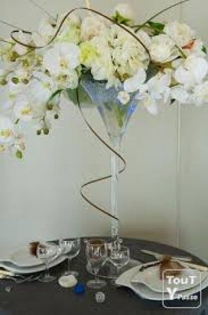 Martini glass centerpieces table pinterest vases martinis et lunettes - Centre de table verre martini ...