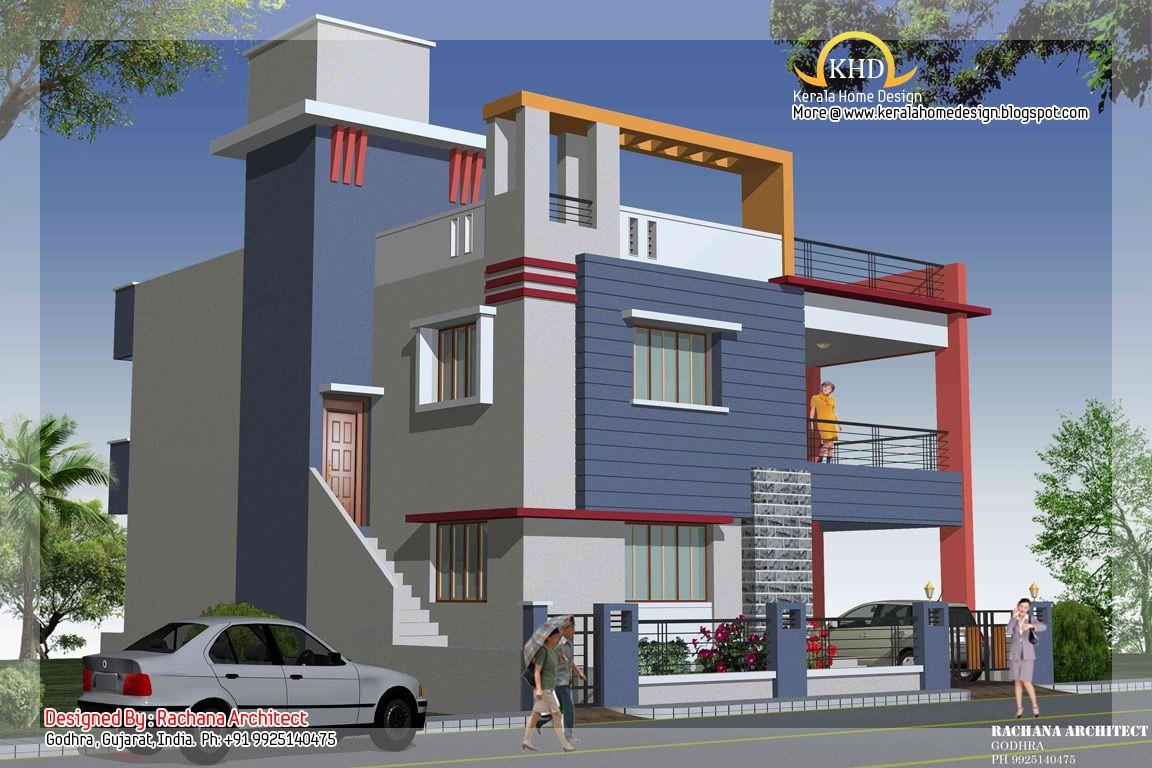 Duplex House Plan and Elevation 2349 Sq. Ft. Duplex