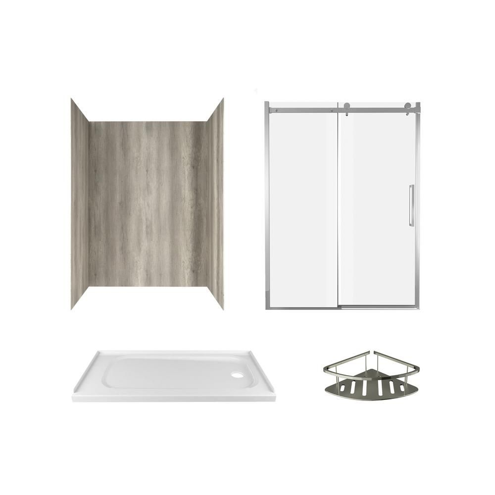 American Standard Passage 60 In X 72 In Right Drain 6 Piece Glue Up Alcove Shower Wall Shelf Door And Base Kit In Gray Timber In 2020 Shower Wall Kits Shelves Shower Shelves