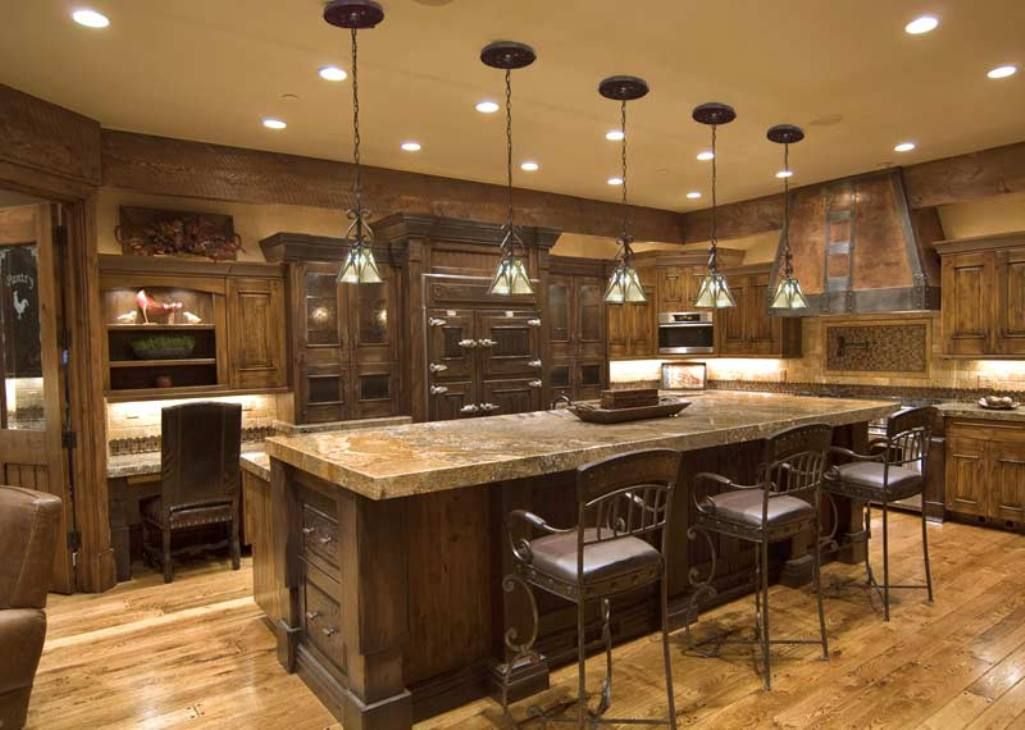 Rustic Kitchen With Clasical Pendant Lights Beautiful Color