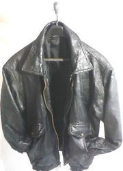 Mens Flight Path Black Leather Patchwork Style Bomber Jacket Extra