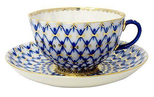 Lomonosov Porcelain Cobalt Net Teacup and Saucer by Lomonosov Russia