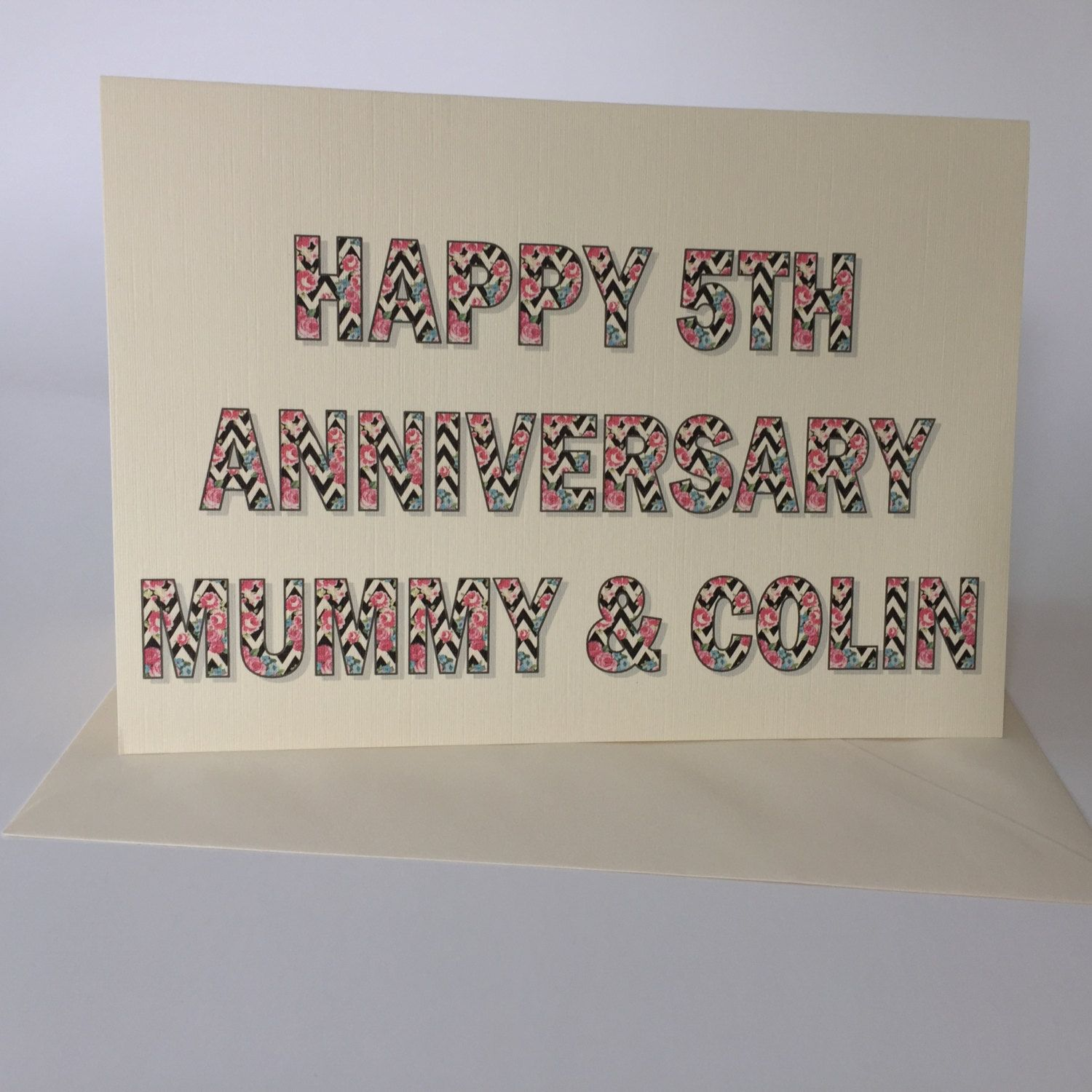 Luxury Personalised 5th (or any year!) Anniversary card