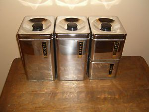 VINTAGE LINCOLN BEAUTYWARE STAINLESS CANISTER SET 4 STEEL CHROME
