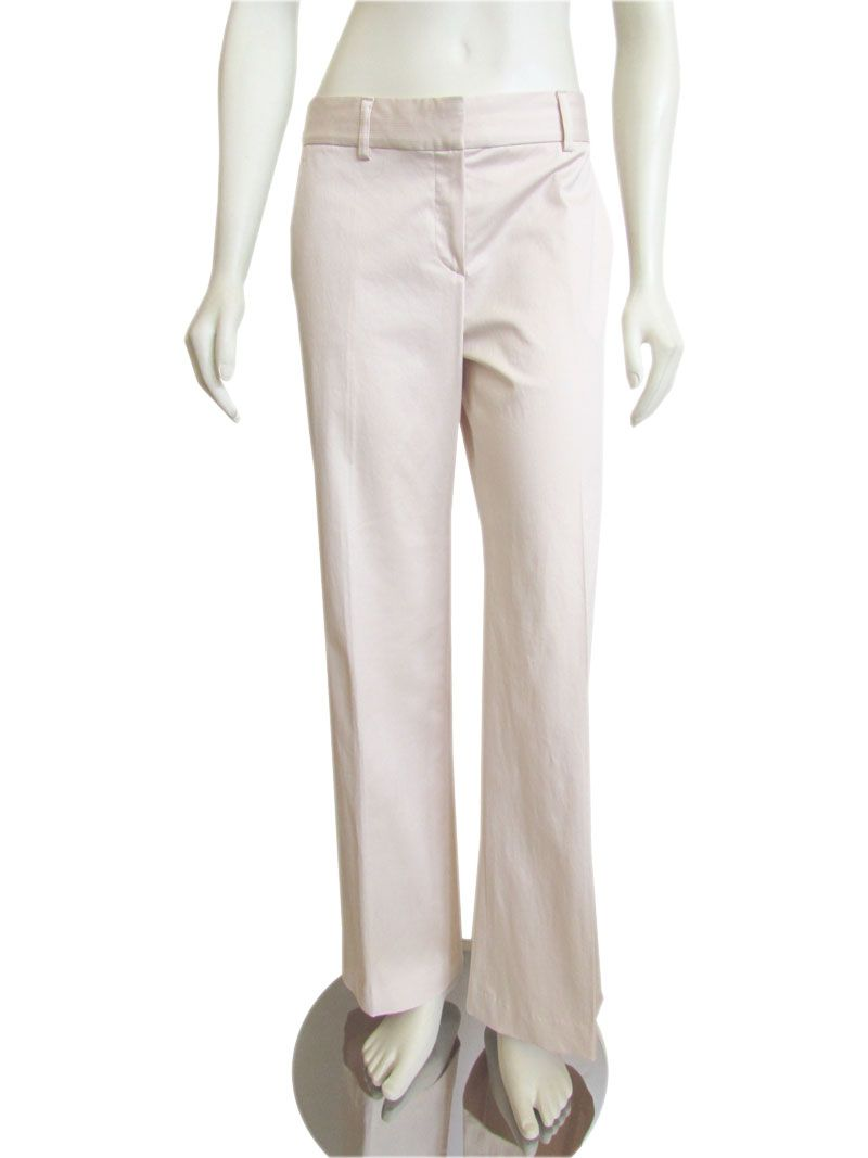 Gorgeous Theory flared cotton pants , done in a subtle, pale pink tonal stripe. Trousers features a low rise with zip fly and double hook closure, slant pockets at the hips, button down back pockets... A beautiful contender for your Spring / summer casual capsule wardrobe, or outfit ideas! #Theory #Brand #Clothing #Pants #Sale
