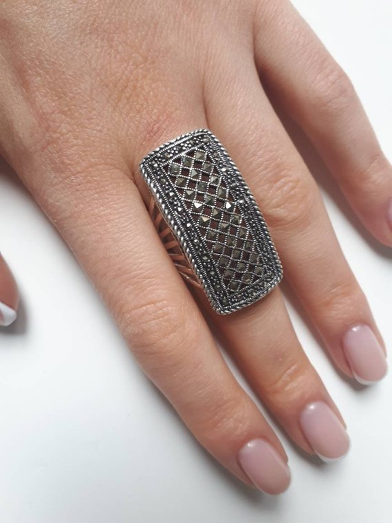 Mens Womens Sterling Silver 925 Bali Artisan Wide Band Boho Ring Size 9.5 10.5