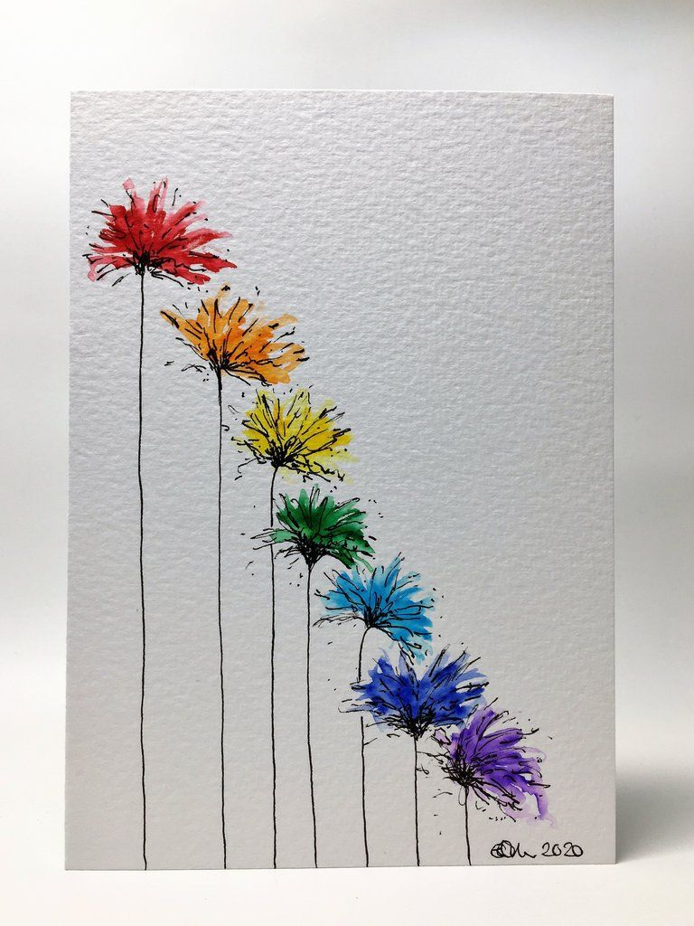 Original Hand Painted Greeting Card - Abstract Rainbow Coloured Spiky Flowers