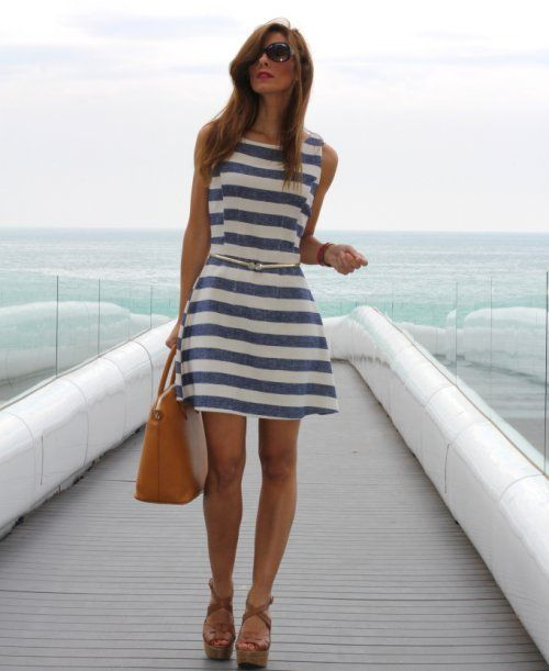 white blue striped summer dress | Pola_blue | Pinterest | Classy ...