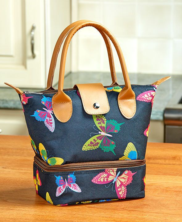 7e241795afe6 WOMEN'S STYLISH BUTTERFLY INSULATED LUNCH TOTE/ LUNCH BOX TWO ZIP ...