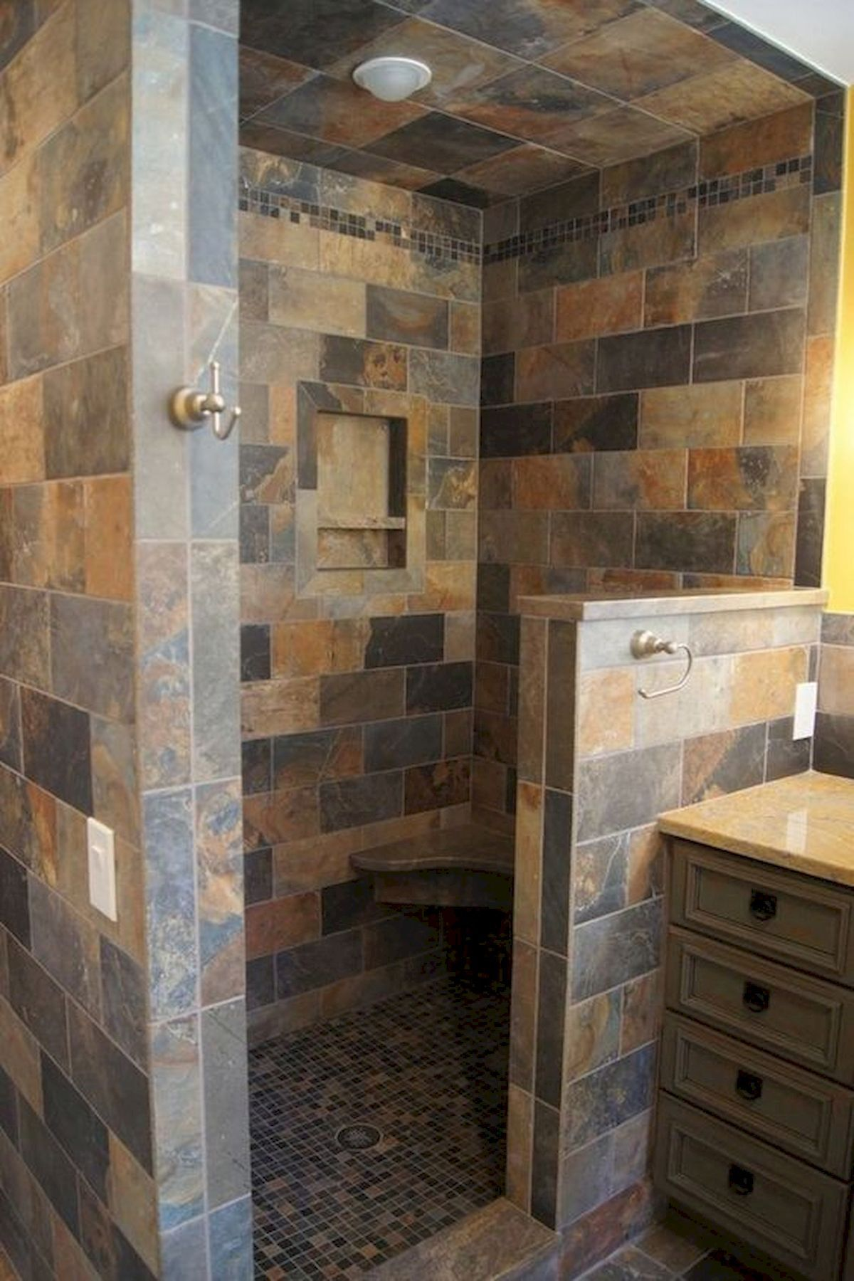 Walk In Shower Ideas Without Doors 2021 In 2020 Bathroom Remodel Shower Open Showers Rustic Shower