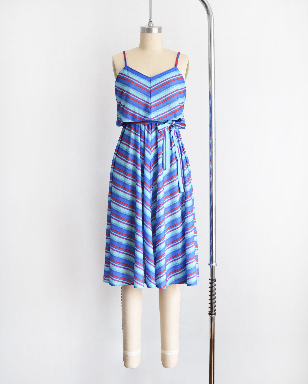 Vintage 70s Chevron Dress 1970s Sundress Blue Purple Red Striped Elastic Waist Summer Dress Medium Chevron Dress Dresses Casual Dresses For Women [ 3000 x 2400 Pixel ]