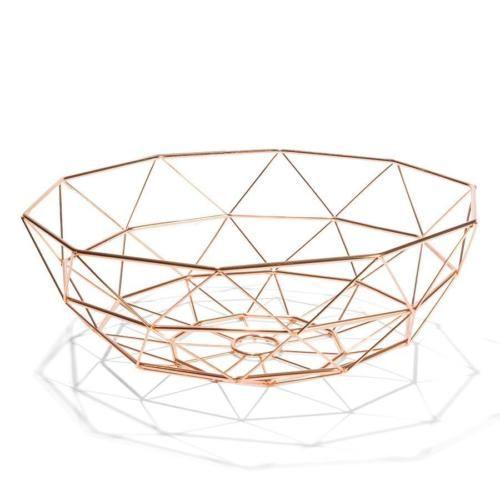 Minimalistic Scandinavian Geometric Copper Wire Fruit Bowl Basket