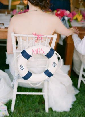 Life preserver chair decor {Photo by Abby Jiu Photography via Project Wedding}