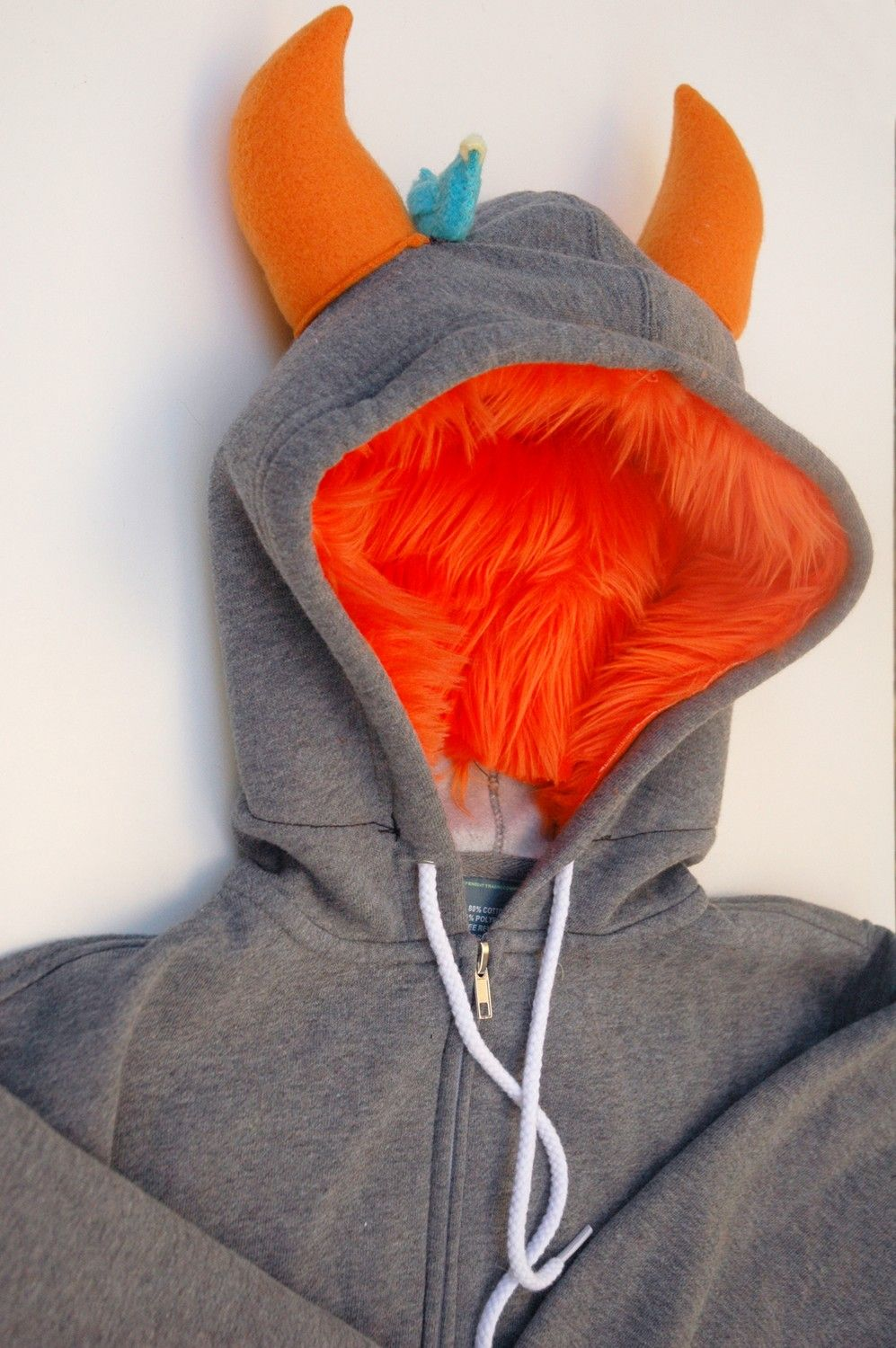 My big monster hoodie gray and orange adult unisex small