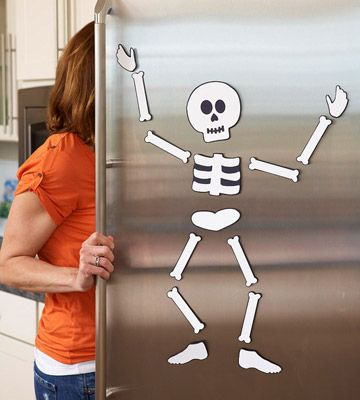 Fright on the Fridge  This skeleton makes no bones about chillin' on your fridge. Download our free pattern and print onto white paper. Cut out the pieces and glue them onto thick black cardstock; cut out, leaving a small border of black cardstock around the pieces. Add self-adhesive magnet strips to the back of each piece and arrange on the refrigerator.