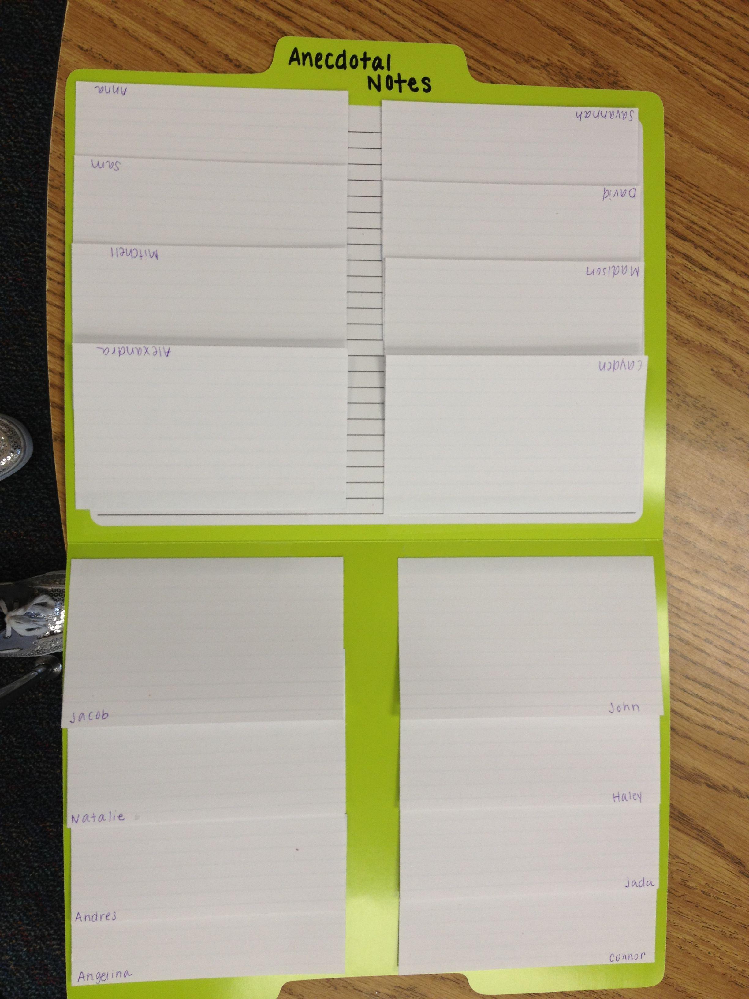 How I Organize Anecdotal Notes