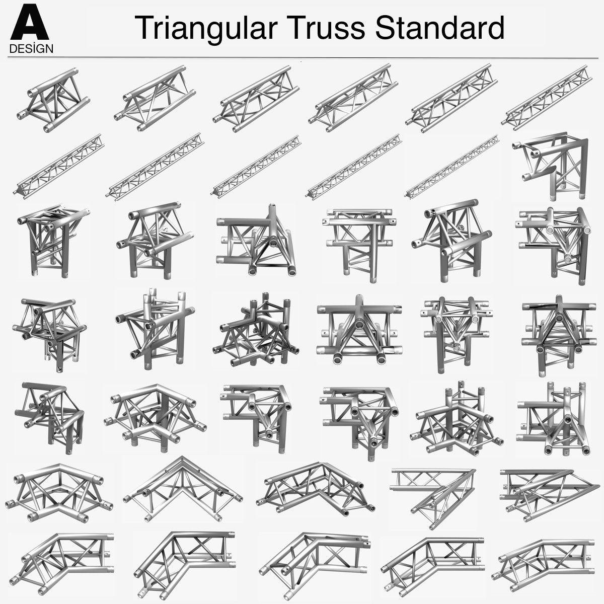 Triangular Truss Standart 008 3ds