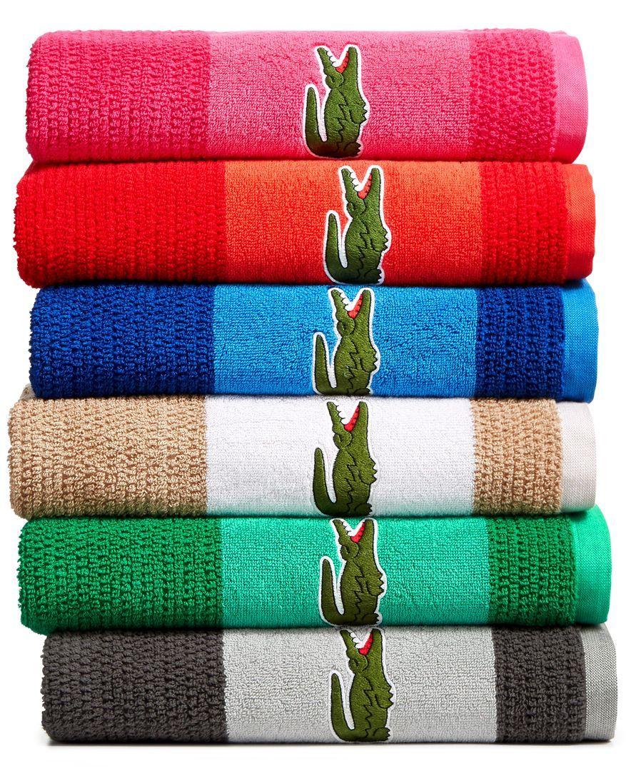 Lacoste Match Cotton Colorblocked Bath Towel Bath Towels Blue Towels Towel