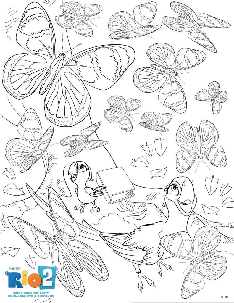 rio 2 activity sheets to do after the movie butterfly colour