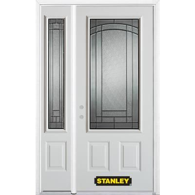 Stanley Doors 48 In X 82 In 3 4 Lite 2 Panel Pre Finished White Steel Entry Door With Sidelites And Brickmould Steel Entry Doors White Paneling Entry Doors