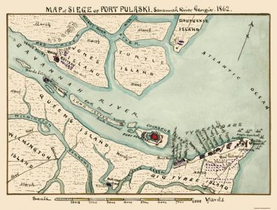 Civil War Map Print Siege Of Fort Pulaski River 1862 30 25 X