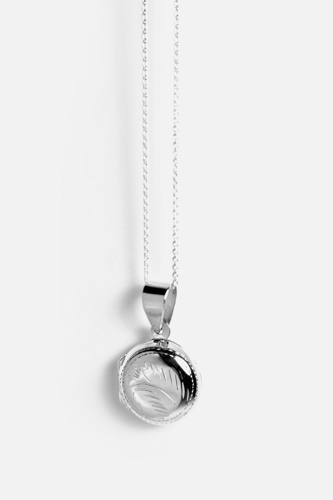 Round Mini Locket Charm & Chain Necklace Sterling Silver