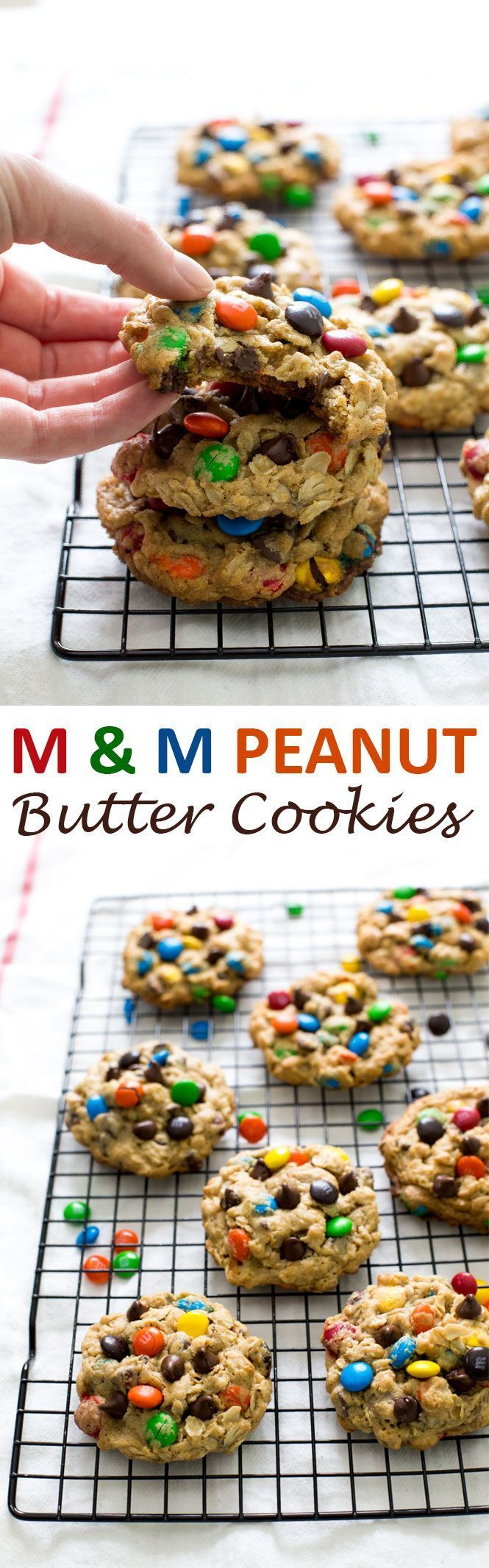 Thick and Chewy Monster M & M Cookies loaded with chocolate chips, M & Ms, peanut butter, and oats! They take only 20 minutes to make! | chefsavvy.com #recipe #m&m #peanut #butter #cookies #dessert