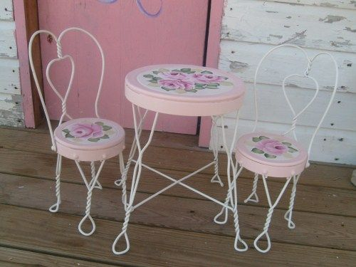 Shabby Hp Roses Hand Painted Vintage Ice Cream Parlor Table And Char - Ice Cream Parlor Table And Chairs Set Modern Coffee Tables And