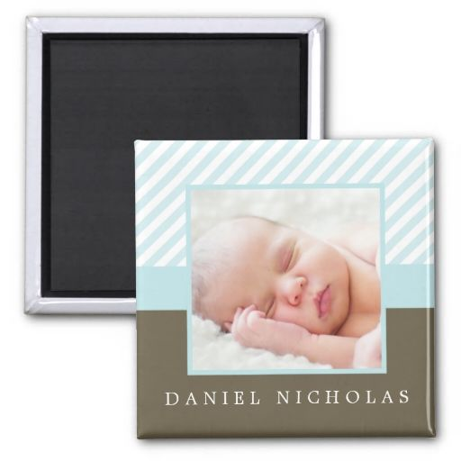 Baby Blue Stripes Photo Frame Refrigerator Magnet