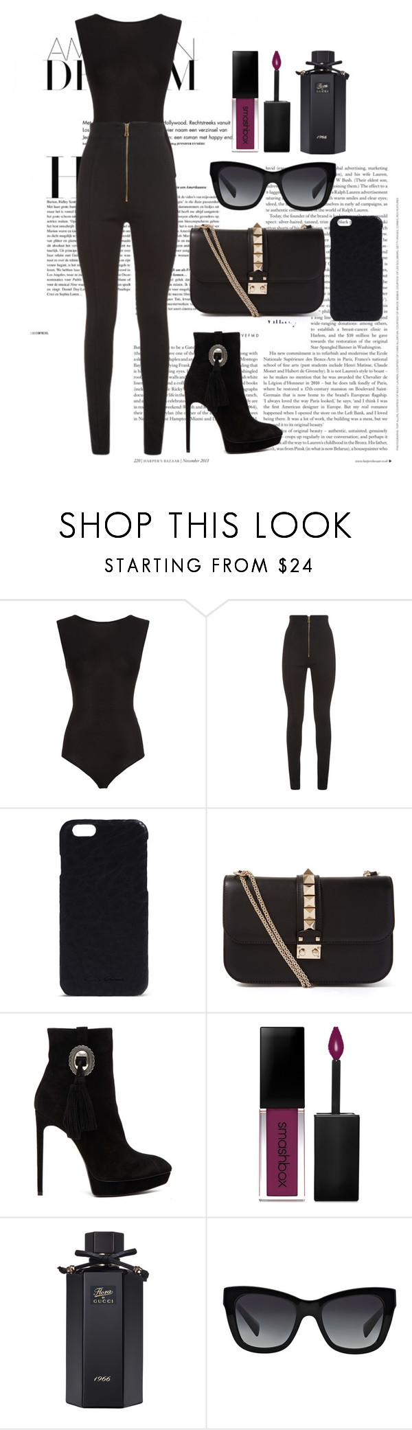 """""""🕳"""" by kiper ❤ liked on Polyvore featuring Maje, Balmain, Rick Owens, Valentino, Yves Saint Laurent, Smashbox, Gucci, Dolce&Gabbana and vintage"""