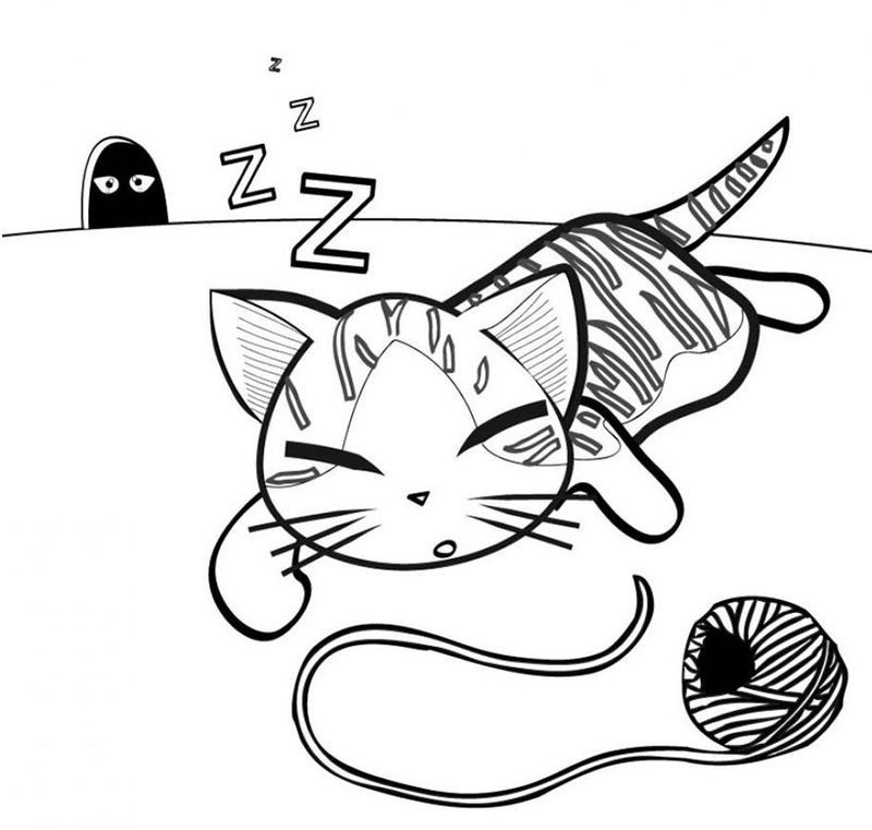 Sleeping Cartoon Cat Coloring Page See The Category To Find More