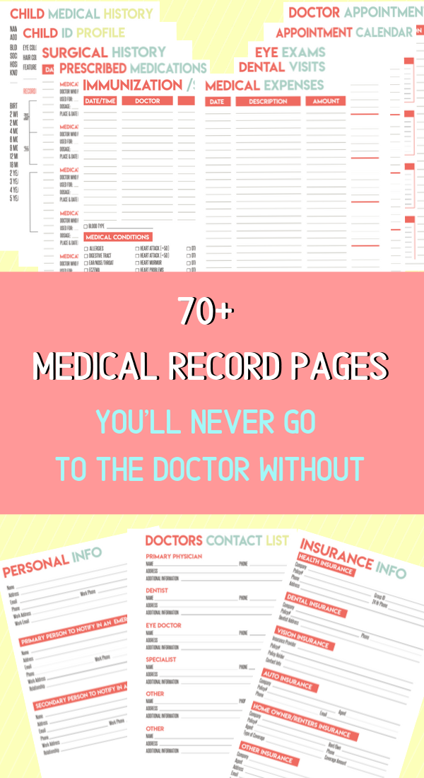 Family Medical Record Keeper Medical Binder Printables Medical