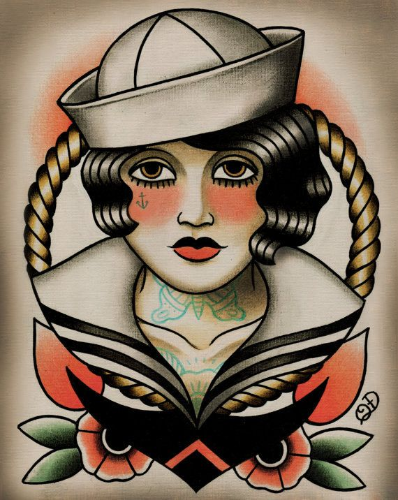 6b6988a25 Sailor Girl Tattoo Art Print by ParlorTattooPrints on Etsy. , via Etsy.
