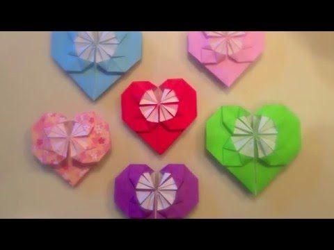 origami heart tutorial with pattern おりがみのハート youtube