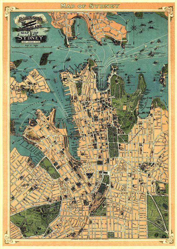 antique sydney australia city map print 33 x by ancientshades 4800